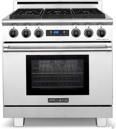 American Range ARR364GRDF 36 Inch Pro-Style Dual-Fuel Range with 4 Sealed Burners, 5.7 cu. ft. Straight Convection Oven, Self-Clean, Infrared Broiler, 11 Inch Grill and Blue VFD Display