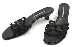 Donald Pliner 9.5 N Black Patent Leather Bow Stretch Womens Kitten Slide Sandals