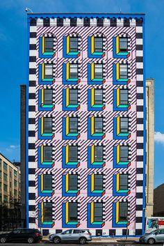 memphis-inspired mega-mural by camille walala emblazons brooklyn's industry city