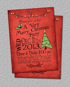 53 Best My Etsy Images On Pinterest Christmas Party Invitation