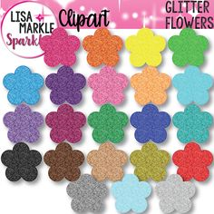 Let's get spring fever early with these vibrant glitter flower blossoms in every color of the rainbow! These will add sparkle and color to your classroom and your teaching activities! Great for labels, classroom decor, matching activities, counting activities, sequencing activities, teacher planners, stationery, and more! The set includes blossom images in 22 different color glitter textures. Each graphic is a 300 DPI PNG file with a transparent background. Personal and small commercial use!