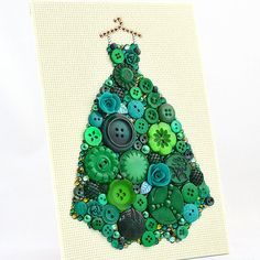 Button Art - Green Ball Gown - Dressing Room Decor, Ball Gown Wall Hanging, Pretty Dress Art, Girl Room Decor, Emerald Green Decor