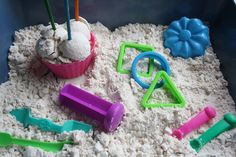 diy moon sand:  flour (8 c) and baby oil (1 c)...not as messy as sand!