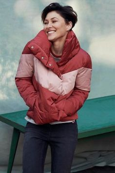 Buy Red/Pink Short Duvet Colourblock Jacket from the Next UK online shop