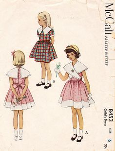 1950's Day Dress with Wide Collar for Girls and by BettieJoVintage