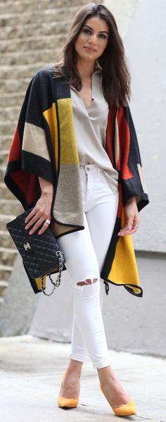 Camila Coelho Multi Poncho Fall Street Style Inspo