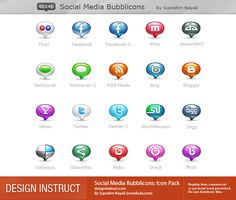 Social Media Bubblicons: Icon Pack - Design Instruct