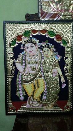 Radha krishna tanjore painting 18/24 size for sale.