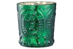 S/4 Antique Glass Votives, Emerald on One Kings Lane today