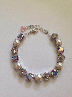 Swarovski crystal and pearl bracelet - not sabika on Etsy, $35.00