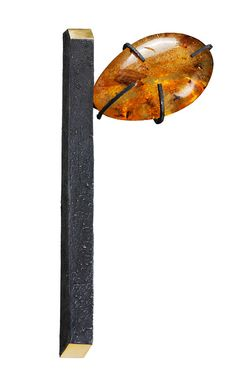 Gigi Mariani Brooch: Alone in my Thoughts, 2013 Silver, 18kt yellow gold, Amber, Niello, patina 12,5 X 6,5 X 1,6 cm