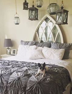 I donu0027t care for the comforter but I like the gothic window headboard and the hanging lanterns - bedroom & Love this headboard made out of old an old window and shutters ...