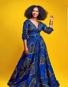 Blue African Print Dress/African Clothing/African Dress For Women/African Fabric Dress/African Fashion/African Maxi Dress/Ankara Dress African Prom Dresses, African Dresses For Women, African Attire, African Wear, African Fashion Dresses, Ankara Fashion, African Style, Ghanaian Fashion, Fashion Outfits