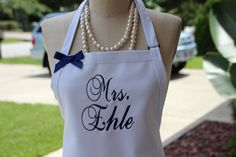 """Wedding Apron, """"Mrs."""" with Bride's New Married Name! Personalized bride shower gift, White, Beach Island Colors, Ocean, Navy thread and Bow by Wheelering on Etsy"""