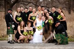 An Irish wedding can be full of fun and loaded with great green wedding accents, including kilts! Emerald is the 2013 wedding color, so go with it!