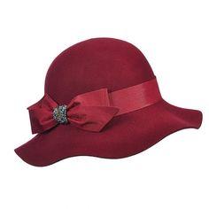 c611bd49fab Madamoiselle - Callanan LV360 Coal Wool Felt Cloche Hat w  Satin Bow    Rhinestones