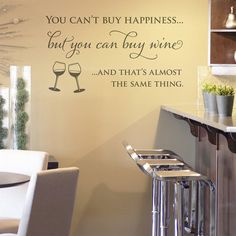 A high quality, fun, 'wine and happiness' wall sticker. Professionally designed inspirational wall quote, perfect for the kitchen.. £18.99