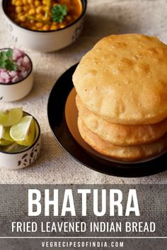 Bhatura recipe with step by step photos – Bhatura or Bhature is one of the most popular punjabi recipe. Bhatura are thick leavened fried Indian bread. Indian Bread Recipes, North Indian Recipes, Veg Recipes, Cooking Recipes, Puri Recipes, Vegetarian Recipes, Indian Breads, Indian Foods, Indian Dishes