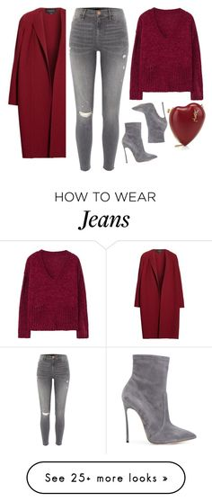 """Crimson + Gray"" by cherieaustin on Polyvore featuring River Island, MANGO, Casadei, Yves Saint Laurent and Lafayette 148 New York"
