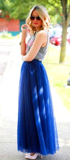 Long Royal Blue tulle tutu skirt maxi skirt by LudasBoxOfTreasures-$130.00+-Assorted Colors