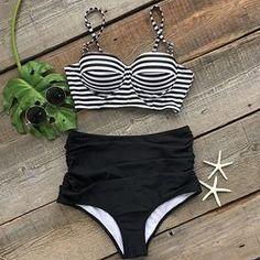 Cupshe All About U Stripe High-waisted Bikini Set