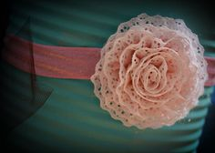 Pink and White Lacy Headband by alexanoelboutique on Etsy, $10.00