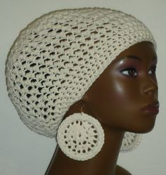 Ivory crochet beret tam and earrings by Razonda Lee