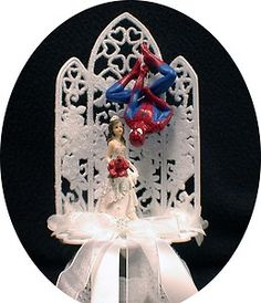This is pretty hilarious:) superhero wedding cake toppers Funny Wedding Cake Toppers, Wedding Topper, Wedding Bride, Dream Wedding, Wedding Ideas, Trendy Wedding, Wedding Dresses, Superhero Wedding Cake, Spiderman Cake Topper