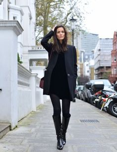 fall 2015 knee high boots black dress blazer Source by SouthernBlondeChic knee high boots outfit Dress Outfits, Winter Outfits, Casual Outfits, Winter Dresses, Black Outfits, Fashion Mode, Look Fashion, Spain Fashion, Classic Fashion
