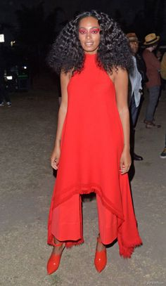 Solange Knowles poses backstage wearing a dress by Gareth Pugh and shoes by Missoni during day two of FYF Fest at L.A. Sports Arena & Exposition Park in Los Angeles on Aug. 23, 2015.