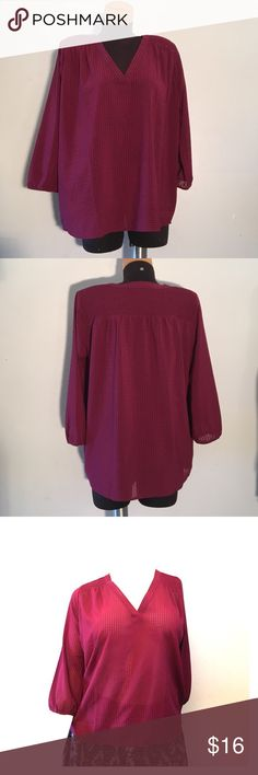 Ann Taylor 3/4 Sleeves Top Burgundy color. Semi sheer. V-Neck. Excellent condition. (R1) Ann Taylor Tops