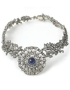 Diamond and cabochon sapphire necklace, 19th c.