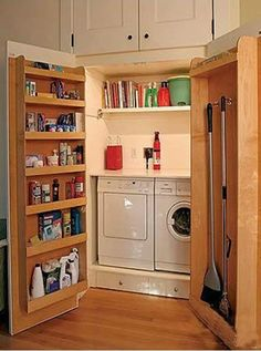 Hidden Laundry Room for small laundry. Hidden Laundry, Hidden Closet, Concealed Laundry, Deep Closet, Makeshift Closet, Small Laundry Closet, Clever Closet, Hidden House, Simple Closet
