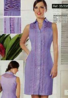 Calado y bordado Cuba Fashion, Girl Fashion, Fashion Dresses, Womens Fashion, Business Professional Dress, Professional Dresses, Girls Dresses, Summer Dresses, Western Wear