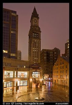 Custom House Tower and  Faneuil Hall marketplace at night. Boston, Massachussets, USA
