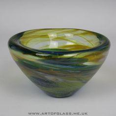 Mdina blue glass bowl by Michael Harris
