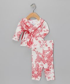 Red Floral Toile Wrap Top & Pants - Infant $14