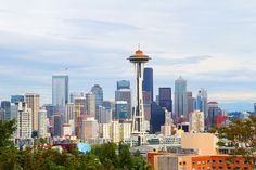 Seattle Space Needle and Skyline; the space needle is painted orange on top to celebrate 50 years!