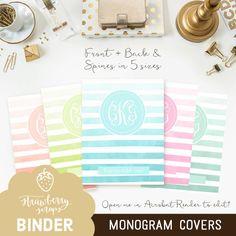 Striped monogram binder cover printable 5x set by StrawberryScraps