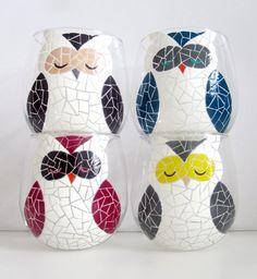 Pick 2 Mosaic Owls Painted Wine Glasses by MeKu on Etsy, $54.00