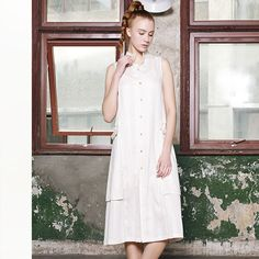 Sleeveless Linen Shift Midi #Dress.