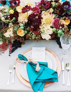 Fall tablescape with pops of teal