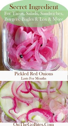 Easy, quick pickled red onions recipe is the secret condiment restaurants and caterers use to make their sandwiches, salads, tacos and chicken and fish dishes sing. This zesty add on is super easy, quick and lasts for months in the refrigerator. Quick p Red Onion Recipes, Mexican Food Recipes, Radish Recipes, Pickles, Quick Pickled Red Onions, Canned Pickled Onions Recipe, Marinated Red Onions Recipe, Best Pickled Red Onion Recipe, Asian Food Recipes