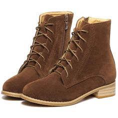 Brown Suedette Zip Side Lace Up Ankle Boots (€57) ❤ liked on Polyvore featuring shoes, boots, ankle booties, short brown boots, brown bootie, lace up ankle boots, short lace up boots and brown booties