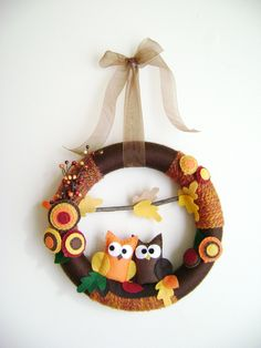 Felt and Yarn Wreath - Autumn Harvest Owls - Made to Order -  Fall Leaves Brown Orange Gold. $75.00, via Etsy.