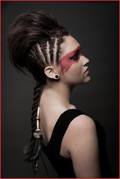 Modern Warrior Hair by Dede Young Studio Mantra Salon Makeup by Dede Young and Jeremy Kruempel New Years Nail Designs, Winter Nail Designs, Viking Makeup, Warrior Makeup, Viking Warrior Woman, Christmas Gel Nails, Christmas Christmas, Blue Glitter Nails, Viking Hair
