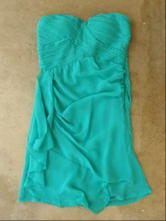 Teal Pleats and Ruffles Dress - Click Image to Close