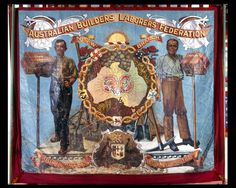 NSW Builders Labourers. Hods banned in late 1940s. Banner created by Edgar Whitbread in 1907. He added the hods banned