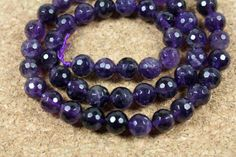 Dark Purple Amethyst Round Beads - Faceted Disco Ball Beads, 15.5 inch strand on Etsy, $15.99