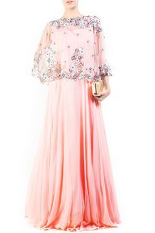 Pinkish Peach Cape Gown by Anju Agarwal, Ethnic Gowns